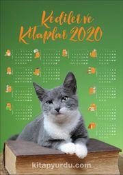 2020 Takvimli Poster - Kediler ve Kitaplar - Yeşil
