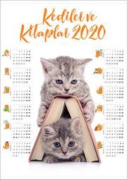 2020 Takvimli Poster - Kediler ve Kitaplar - Kitap Ev