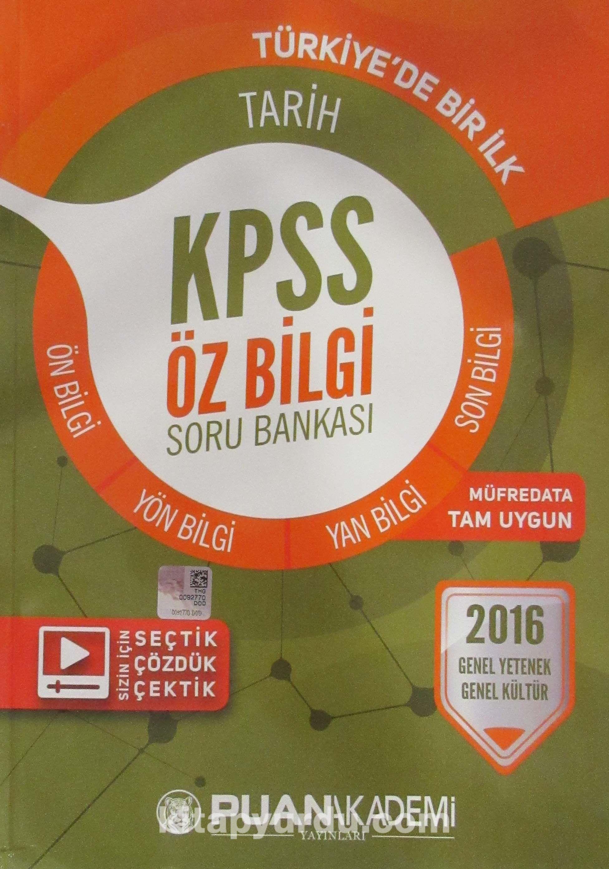 2016 KPSS Genel Yetenek Genel Kültür Tarih Öz Bilgi Soru Bankası - Kollektif pdf epub