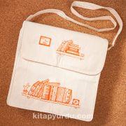 Kitapyurdu Postacı Bez Çanta (Kitaplık Desenli)