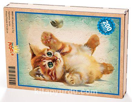 Kedicik ve Tüy Ahşap Puzzle 204 Parça (HV21-CC)