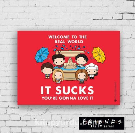 Ahşap Poster - Friends - Real World (BK-FR151) Lisanslı Ürün