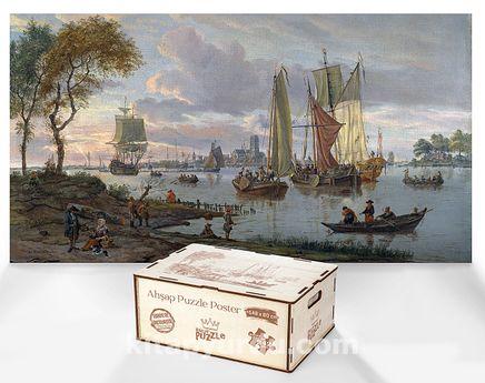 A River View / Abraham Storck - Ahşap Puzzle Poster 242 Parça (PPCCL-107-KR)