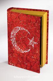 Kitap Şeklinde Ahşap Hediye Kutu - Bayrak Ebruli