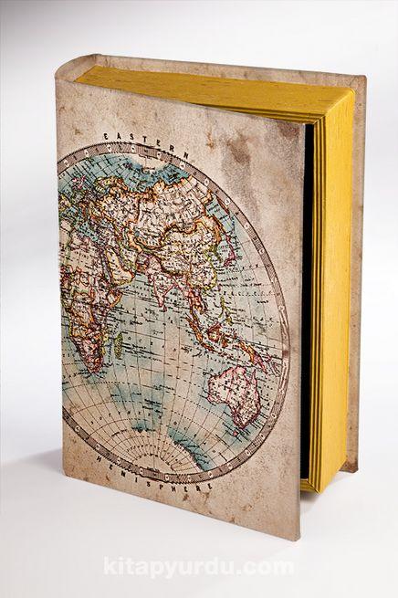 Kitap Şeklinde Ahşap Hediye Kutu - Eski Harita