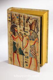 Kitap Şeklinde Ahşap Hediye Kutu - Mısır Papirus Sunuş