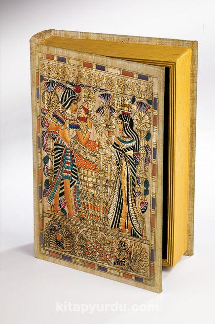 Kitap Şeklinde Ahşap Hediye Kutu - Mısır Papirus Tutankamon