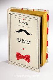 Kitap Şeklinde Ahşap Hediye Kutu - Sevgili Babam - Bıyık, Papyon