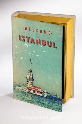 Kitap Şeklinde Ahşap Hediye Kutu - İstanbul Nostalji
