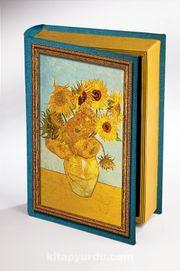 Kitap Şeklinde Ahşap Hediye Kutu - Vazoda Oniki Ayçiçeği