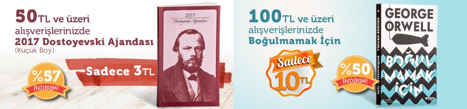 """50TL ve Üzeri Alışverişinize """" 2017 Dostoyevski Ajandası (Küçük Boy) """" Sadece 3 TL"""