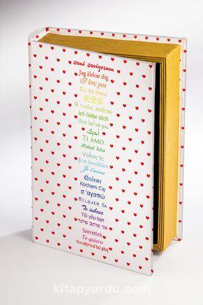 Kitap Şeklinde Ahşap Hediye Kutu Aşkın Dili - 24 Dil-Kalp Puantiyeli