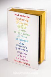 Kitap Şeklinde Ahşap Hediye Kutu Aşkın Dili - 15 Dil - Beyaz