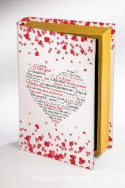 Kitap Şeklinde Ahşap Hediye Kutu Aşkın Dili - Diller - Kalpli