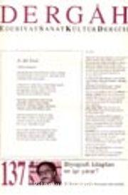Dergah Edebiyat Sanat Kültür Dergisi / Temmuz 2001 Sayı:137 Cilt: XII