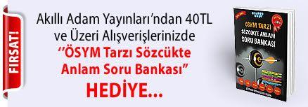 """Akıllı Adam Yayınları'ndan 40TL ve Üzeri Alışverişlerinizde '' ÖSYM Tarzı Sözcükte Anlam Soru Bankası """" Hediye..."""