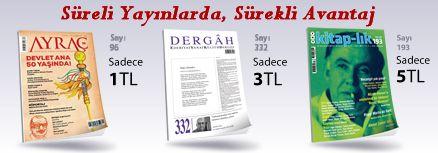 """50TL ve Üzeri Alışverişinize """" Dergah Edebiyat Sanat Kültür Dergisi Sayı 332 Ekim 2017 """" Sadece 3 TL"""