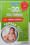 Son 30 Yıl YGS Türkçe Tamamı Çözümlü Yaprak Test