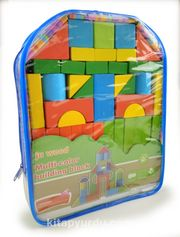 Ahşap Renkli Bina Blok Seti (39 Parça)