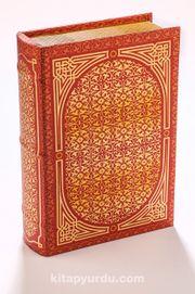 Kitap Şeklinde Yaldızlı Ahşap Kutu - Çiçek Figürlü