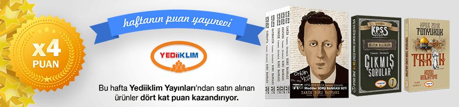 Yediiklim Yayınları'ndan alınan ürünün puanının 4 katı ekstradan hesabınıza yüklenecektir.