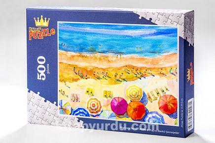 Plaj ve Renkli Şemsiyeler Ahşap Puzzle 500 Parça (MZ8-D)