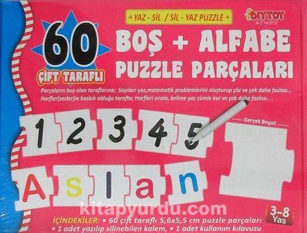 60 Çift Taraflı Boş+Alfabe Puzzle Parçaları (Yaz-Sil / Sil-Yaz)