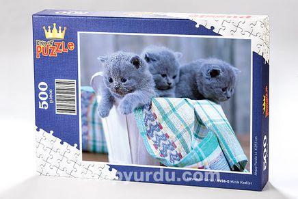 Minik Kediler Ahşap Puzzle 500 Parça (HV08-D)