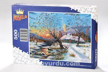 Kış ve Köy Ahşap Puzzle 500 Parça (MZ06-D)