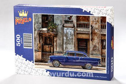 Havana Sokağı ve Mavi Plymouth Ahşap Puzzle 500 Parça (TT06-D)