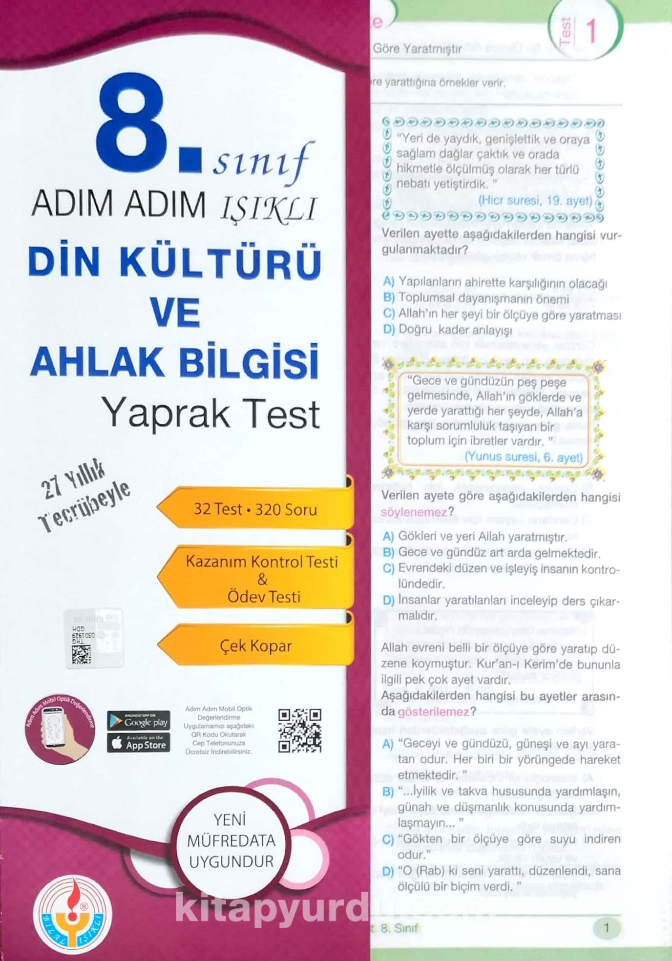 8. Sınıf Adım Adım Işıklı Din Kültürü Ve Ahlak Bilgisi Yaprak Test - Komisyon pdf epub
