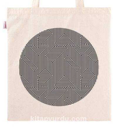 Askılı Bez Çanta - Optik İllüzyon - Labirent