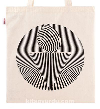 Askılı Bez Çanta - Optik İllüzyon - Koni