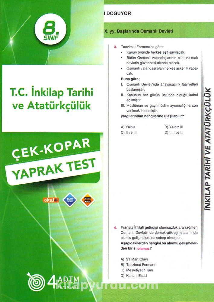 8. Sınıf T. C. İnkilap Tarihi ve Atatürkçülük Çek-Kopar Yaprak Test
