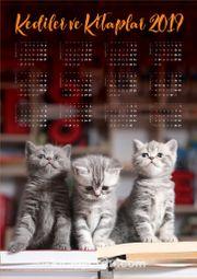 2019 Takvimli Poster - Kediler ve Kitaplar - Sevimli