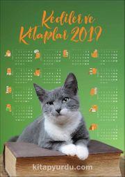 2019 Takvimli Poster - Kediler ve Kitaplar - Yeşil