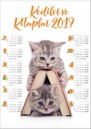 2019 Takvimli Poster - Kediler ve Kitaplar - Kitap Ev