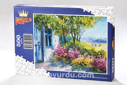 Mavi Pencere Ahşap Puzzle 500 Parça (MZ14-D)