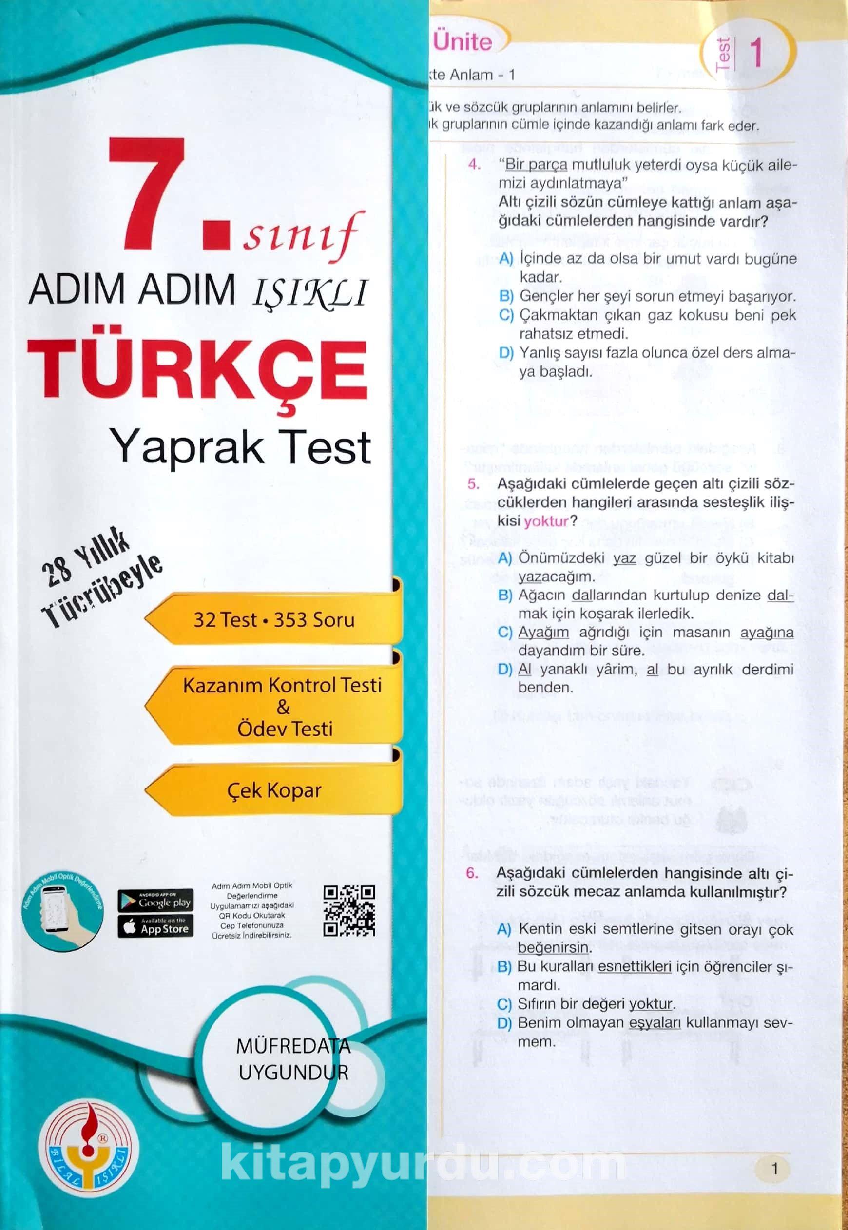 7. Sınıf Türkçe Adım Adım Işıklı Yaprak Test - Kollektif pdf epub