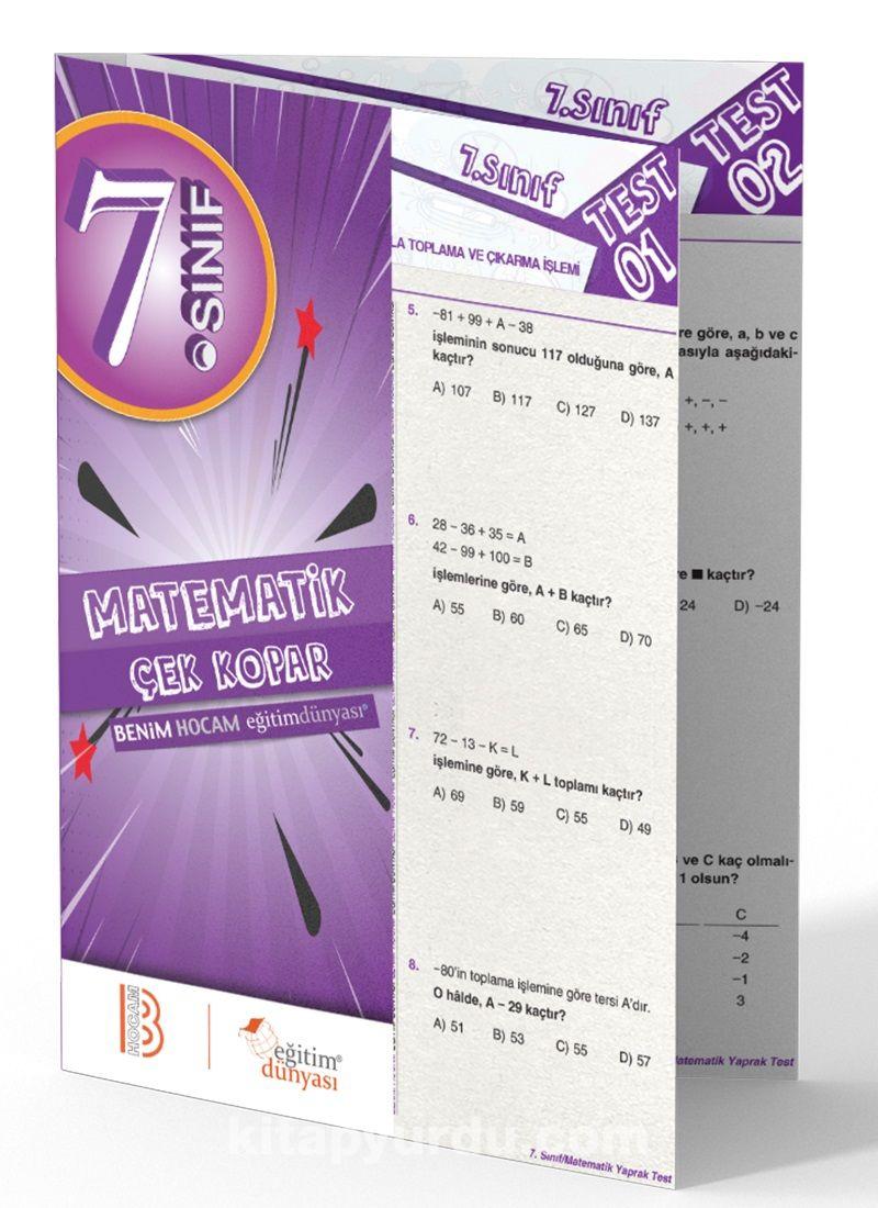 7. Sınıf Matemetik Çek Kopar Yaprak Test