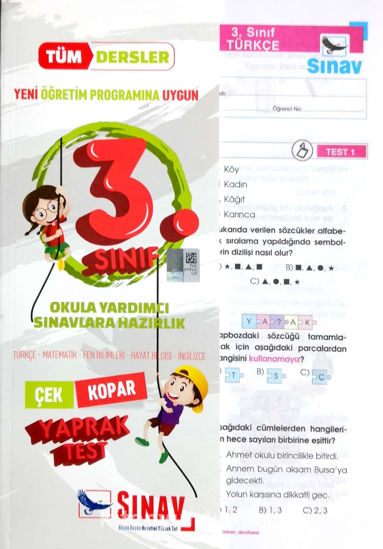 3.Sınıf Tüm Dersler Çek-Kopar Yaprak Testler -  pdf epub