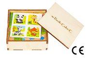 Montessori Ahşap Zeka Oyunları w-Puzzle Cube C Hayvanları Tanıyalım 3