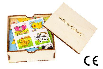 Montessori Ahşap Zeka Oyunları w-Puzzle Cube C Hayvanları Tanıyalım 6