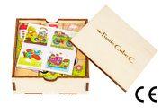 Montessori Ahşap Zeka Oyunları w-Puzzle Cube C Taşıtları Tanıyalım 1