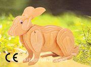 Montessori Ahşap Zeka Oyunları / w-3D Puzzle- Rabbit