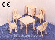 Montessori Ahşap Zeka Oyunları / w-3D Puzzle-Dining Room