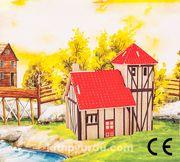Montessori Ahşap Zeka Oyunları / w-3D Puzzle- Ranch House
