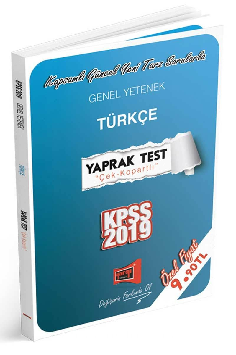 2019 KPSS Genel Yetenek Türkçe Çek Kopartlı Yaprak Test
