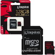 Kingston 128Gb Mıcrosdxc Canvas React 100R/80W U3 Uhs-I V30 A1 Card + Sd Adaptör Sdcr/128Gb