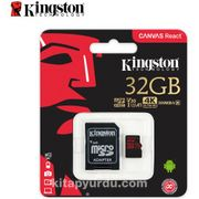 Kingston 32Gb Microsdxc Canvas React 100R/70W U3 Uhs-I V30 A1 Card + Sd Adaptör Sdcr/32Gb
